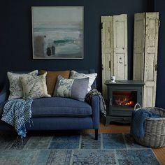 Deep indigo blue living room   Decorating   housetohome.co.uk