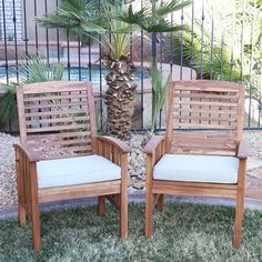 Acacia Wood Patio Chairs (Set of 2)   Overstock.com Shopping - The Best Deals on Dining Chairs