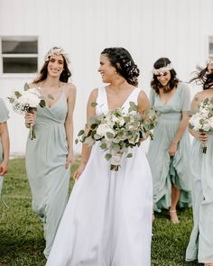 Dress your maids in a gorgeous dusty sage color, perfect for a spring or summer wedding! | #sage #sagebridesmaiddresses #greenbridesmaids #sagebridalparty | Style F19755 & F19933 in the color Dusty Sage | Shop these styles and more at davidsbridal.com | Photo by: @bystephanievelez