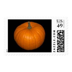 Pumpkin Photo on Black Background Postage - Halloween happyhalloween festival party holiday