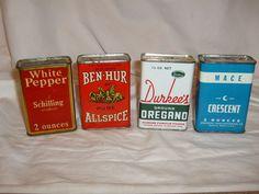 Vintage lot 4 Spice Tins - A Schilling, Ben-Hur, Crescent, Durkee's Kitchen tin  #ASchillingCrescentDurkeesBenHur