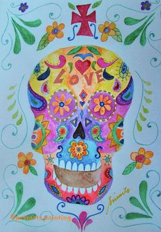 Folk Art Calavera Sugar Skull Dia de los Muertos by prisarts