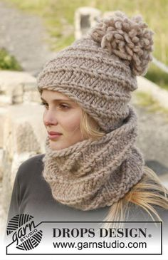 """151-43 Knitted DROPS neck warmer and hat with spiral pattern in """"Polaris"""" or 2 strands """"Eskimo""""."""