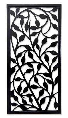 Panel de pared de madera, 'Midnight Foliage' - Panel de pared de madera artesanal Wood Panel Walls, Wood Paneling, Metal Walls, Metal Wall Art, Wood Wall, Decorative Metal Screen, Decorative Panels, Gate Design, Door Design