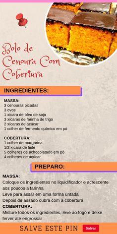 Carrot Cake With Coverage- Bolo de Cenoura Com Cobertura carrot cake - Easy Smoothie Recipes, Easy Smoothies, Good Healthy Recipes, Snack Recipes, Cooking Recipes, Cake Recipes, Blueberry Scones, Vegan Blueberry, Coconut Recipes