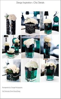 black/ teal lace & pearls centerpiece / wedding - Juxtapost