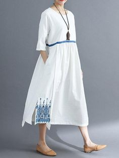Women Shift Daytime Cotton Half Sleeve Embroidered Dress – ebuytide