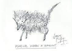 James Purefoy Original. Ink on Card. 'Marcel Needs a Haircut'.
