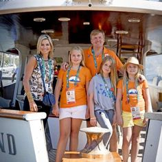 Beautiful family pic of King Willem Alexander and Queen Maxima of Netherlands with and their Daughters at #Rio2016as they watched wind surfing.  #Olympics