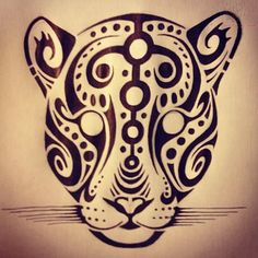 Leopard drawing tribal