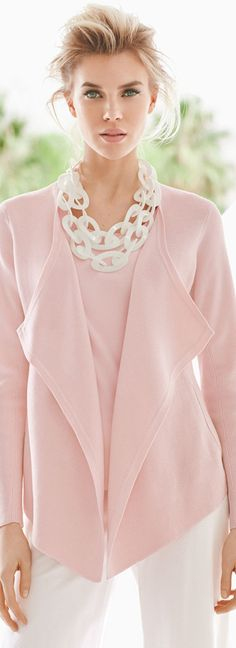 Elegant - Eileen Fisher pink silk jacket, tank and wide leg pant