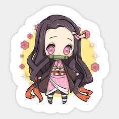 Nezuko Chibi Sticker (Kimetsu No Yaiba/Demon Slayer) Chibi Eyes, Chibi Cat, Cute Anime Chibi, Kawaii Anime, Anime Stickers, Kawaii Stickers, Cute Stickers, Demon Slayer, Slayer Anime