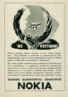 Mainos: Nokia gummitehdas,1940-luvun puoliväli