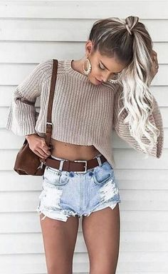 #summer #outfits Grey Crop Knit + Ripped Denim Short