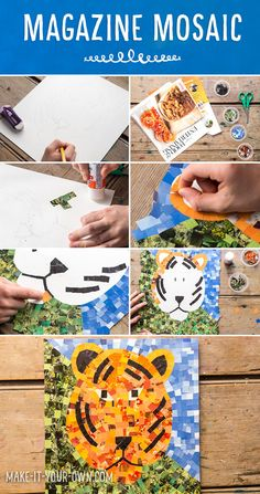 Tiger Magazine Mosaic: Re-use old magazines to create magazine tile pieces to create an image! Upcycled Crafts, Recycled Magazine Crafts, Recycled Art Projects, Arts And Crafts Projects, Teen Art Projects, Recycled Paper Crafts, Recycled Furniture, Handmade Furniture, Easy Crafts