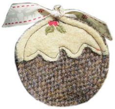 Harris Tweed Christmas pudding (brown) Tree Decoration