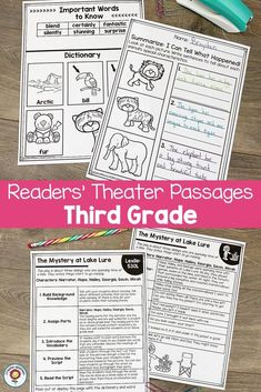 Readers' Theater Passages 3rd GRADE - Use this 132 page pack with your third graders to focus on Readers Theatre. You get a dictionary page, comprehension questions, writing prompts, and more. Great for literacy centers, stations, partner, work, shared reading, fluency groups, and more. Each passage has been professionally leveled by Lexile. You can trust the level, structure, and complexity! (year 3, home school, homeschool) #ReadersTheatre #ReadersTheater #Reading Shared Reading, Guided Reading, Reading Fluency, Classroom Arrangement, Lexile, Readers Theater, 3rd Grade Classroom, Comprehension Questions, Home Schooling