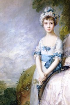 Detail from Hester, Countess of Sussex, and Her Daughter, Lady Barbara Yelverton, Thomas Gainsborough, William Hogarth, Dante Gabriel Rossetti, William Turner, John Everett Millais, Joshua Reynolds, Beauty In Art, St Anne, Rococo Style