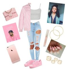 """""""HOTLINE BLING."""" by impverfectionsss ❤ liked on Polyvore featuring Topshop, adidas Originals, Melissa Odabash, Stila and Chanel"""