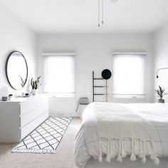 white minimalist bed