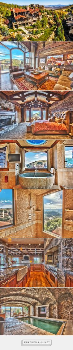 WOW!! Spectacular views, gorgeous interiors, this mountain lodge in Park City, Utah has it all. - created via https://pinthemall.net #luxuryrustichomes #LogHomeDecorating