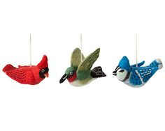 These vibrant bird ornaments are crafted from hand-dyed, hand-felted wool by fair trade artisans in Nepal. Bird Ornaments, Handmade Ornaments, Handmade Felt, Handmade Cards, Felt Christmas, Christmas Crafts, Christmas Ornaments, Christmas Ideas, Christmas In Scotland