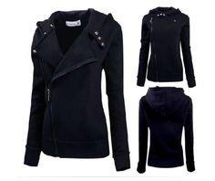 Womens goth punk black long sleeve zip up hoodie sweatshirt hoodies and sweatshirts 5