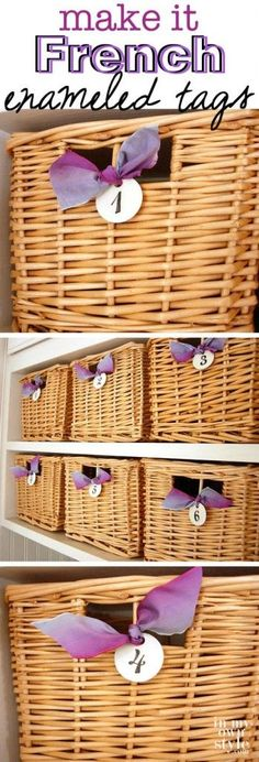 How-to-make-DIY-French enameled-metal tags to hang on baskets, gifts, and more.