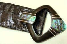 1980's Snake skin belt-Vintage 80's shell belt -Black snake skin belt-Old sash belt-Vintage 80's belt-old 1980's snakeskin belt-ladies belt by BECKSRELICS on Etsy