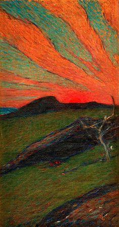"""Karl Nordström 1855-1923 """"Sunset, Bohuslän"""""""