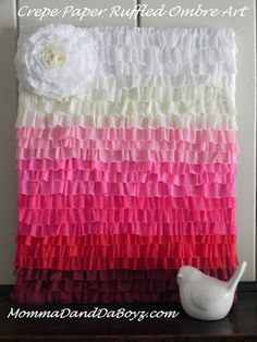 Crepe Paper Ruffled Ombre Art (made with party streamers!) Mermaid Party Princess Party Ideas for Adults Spring Projects, Spring Crafts, Crepe Paper Backdrop, Party Mottos, Party Streamers, Baby Shower Backdrop, Diy Ombre, Party Decoration, Crafty Craft