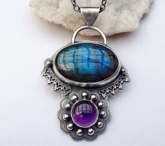 Ashima- Silver Labradorite and Amethyst Necklace Handmade in a Bohemian Style with Oxidized Finish, Boho Metalwork Necklace, Gift for Her