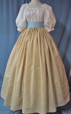 Sewing Instructions for Ladies Costume Drawstring Waist Long Skirt Pioneer Costume, Pioneer Dress, Pretty Dresses, Beautiful Dresses, Skirt Outfits, Cute Outfits, Modest Outfits, Victorian Fashion, Vintage Fashion