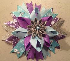 Disney Frozen Olaf Hair Bow. Kanzashi.  Check us out on Facebook at Gotta Put A BOW On It