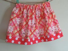 Girls Skirt Twirl Skirt Floral Plaid Pink by SouthernSeamsKids