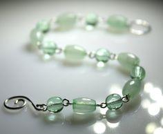 Mint  Green Bracelet New Jade Colored Nephrite Gemstone by JosKii, €25.00