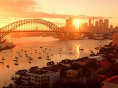 Rise and Shine, Sydney! The Beautiful Sunrise over Sydney Harbor, Australia - Minor Earth Major Sky by Alex Flux Places Around The World, Oh The Places You'll Go, Places To Travel, Places To Visit, Travel Destinations, Wonderful Places, Beautiful Places, Beautiful Scenery, Amazing Places