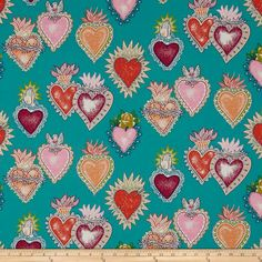 Alexander Henry Folklorico Alma y Corazon Turquoise from @fabricdotcom  Designed by De Leon Design Group for Alexander Henry, this cotton print fabric is perfect for quilting, apparel and home decor accents. Colors include teal, purple, magenta, orange, blue, green, pink and white.