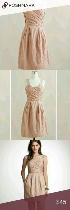 J Crew Vivette Dress 4 Provence Pink Blush Pockets J Crew Vivette Dress 4 Provence Pink Blush Ribbon Straps Pockets Crinkle Cotton   J Crew retail store (Not J Crew Factory)  Size: 4  Color: Provence Pink (Blush)  Excellent, gently pre-owned condition. Worn 1 time. No flaws.  -Ribbon Straps  -Empire waist  -Side zip closure  -Pockets ;) -Pleats on skirt  -Crinkle Cotton/Metallic Thread  -Lined   Color is most accurate in 1st photo.    ** From a smoke-free, but 1 dog-friendly home J. Crew…