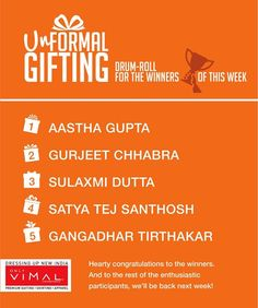 Tag a family member, a friend and special someone and they might just receive an 'Unformal Gift' from you. Tag as many people you want as a comment and we will select 5 lucky winners who will get an 'Unformal Gift