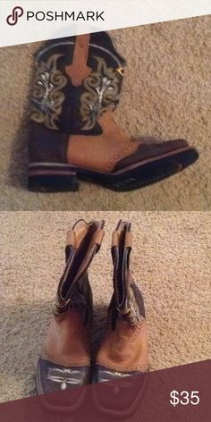 Ladies cowboy boots Brown and tan cowboy boots like new size 7 leather Shoes
