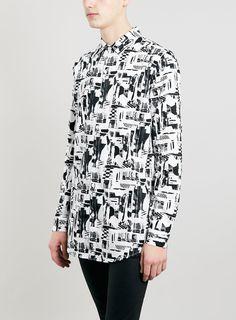 Premium Monochrome Print Long Sleeve Shirt
