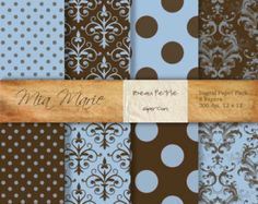 INSTANT DOWNLOAD - Digital Papers Scrapbooking Backgrounds Blue, Brown, Damask, Polka Dots, Swiss Dots, Modern, Baby Printable 12x12 jpg