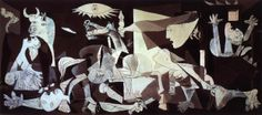 """""""Everything you can imagine is real.""""   Pablo Picasso (""""Guernica"""", the tragic and classic work of the cubist painter Pablo Picasso - the artist's vision - through photos - of the bombing of the spanish city, Guernica, once the basque capital, and bombed during the Spanish Civil War, on 26th April, 1937)."""