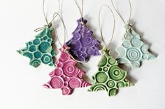 Pottery Ornaments Set of 5 Handmade Christmas Tree Decoration Ornaments. $25.00, via Etsy.