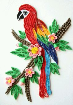colorful bird - quilling