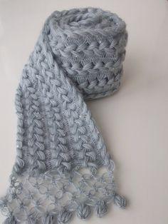 Écharpe de dentelle au crochet en épingle à cheveux / épingle à cheveux dentelle - lierre de mohair toutes saisons-gris écharpe prête à expédier