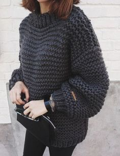 Casual women s round neck solid color thicken long sleeve sweater outfits for fall 2019 Baggy Sweaters, Winter Sweaters, Sweater Weather, Sweaters For Women, Oversized Sweaters, Baggy Sweater Outfits, Legging Outfits, Chunky Knit Sweaters, Oversized Sweater Outfit