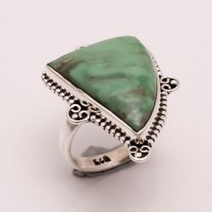 925 Solid Sterling Silver Ring US 7, Natural Variscite Gemstone Jewelry CR427 #Handmade #Fashion