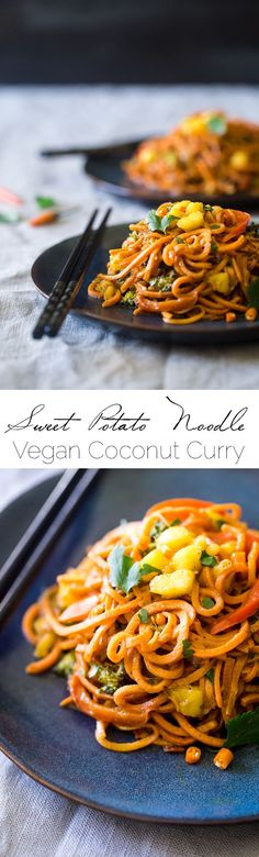 Vegan Coconut Curry with Spiralized Sweet Potato Noodles.